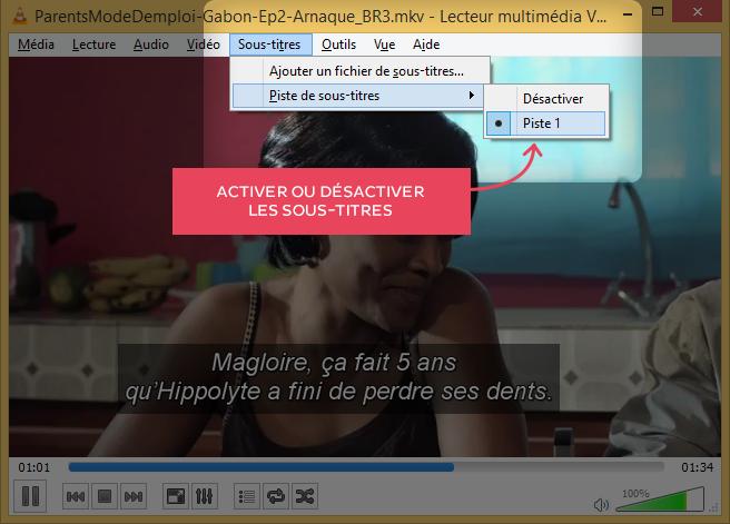 Désactiver les sous-titres dans VLC.
