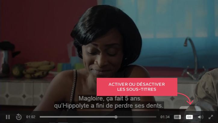 Le bouton CC permet d'afficher ou non les sous-titres dans la vidéo.