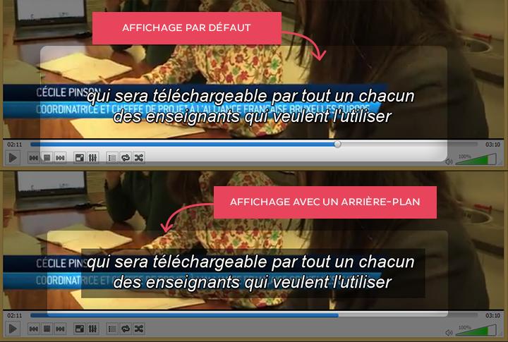 En haut, l'affichage par défaut des sous-titres dans VLC. La lecture est difficile s'il y a du texte en dessous. En bas, la lecture est plus facile grâce à l'arrière-plan noir.