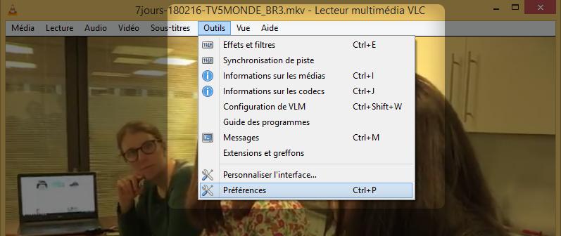 Paramètres de VLC.