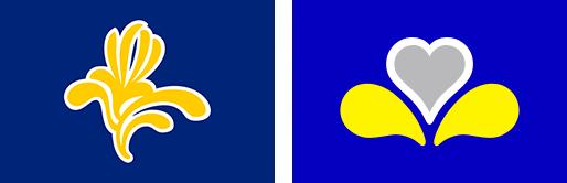 Drapeau de la Région bruxelloise de 1991 à 2015 / Drapeau de la Région bruxelloise depuis 2015