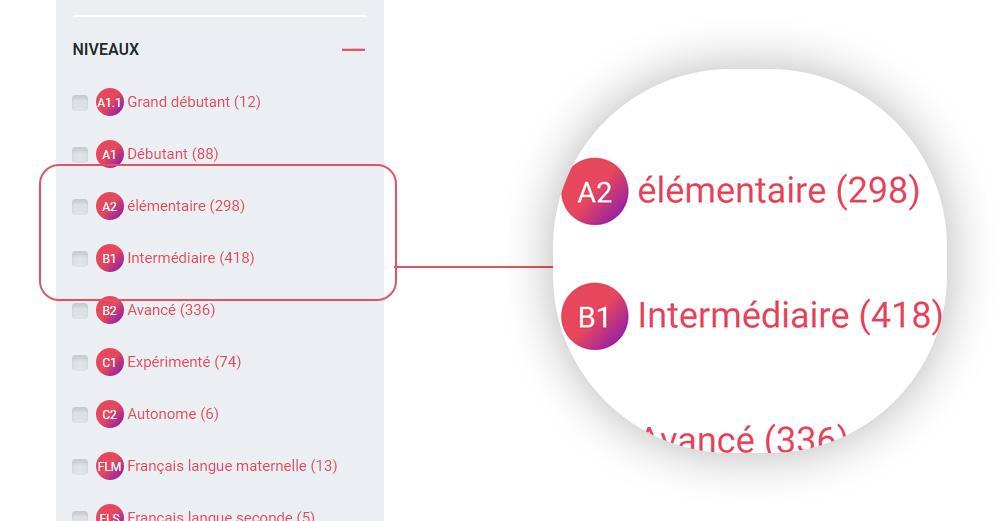 Extrait du moteur de recherche du site Enseigner le français.
