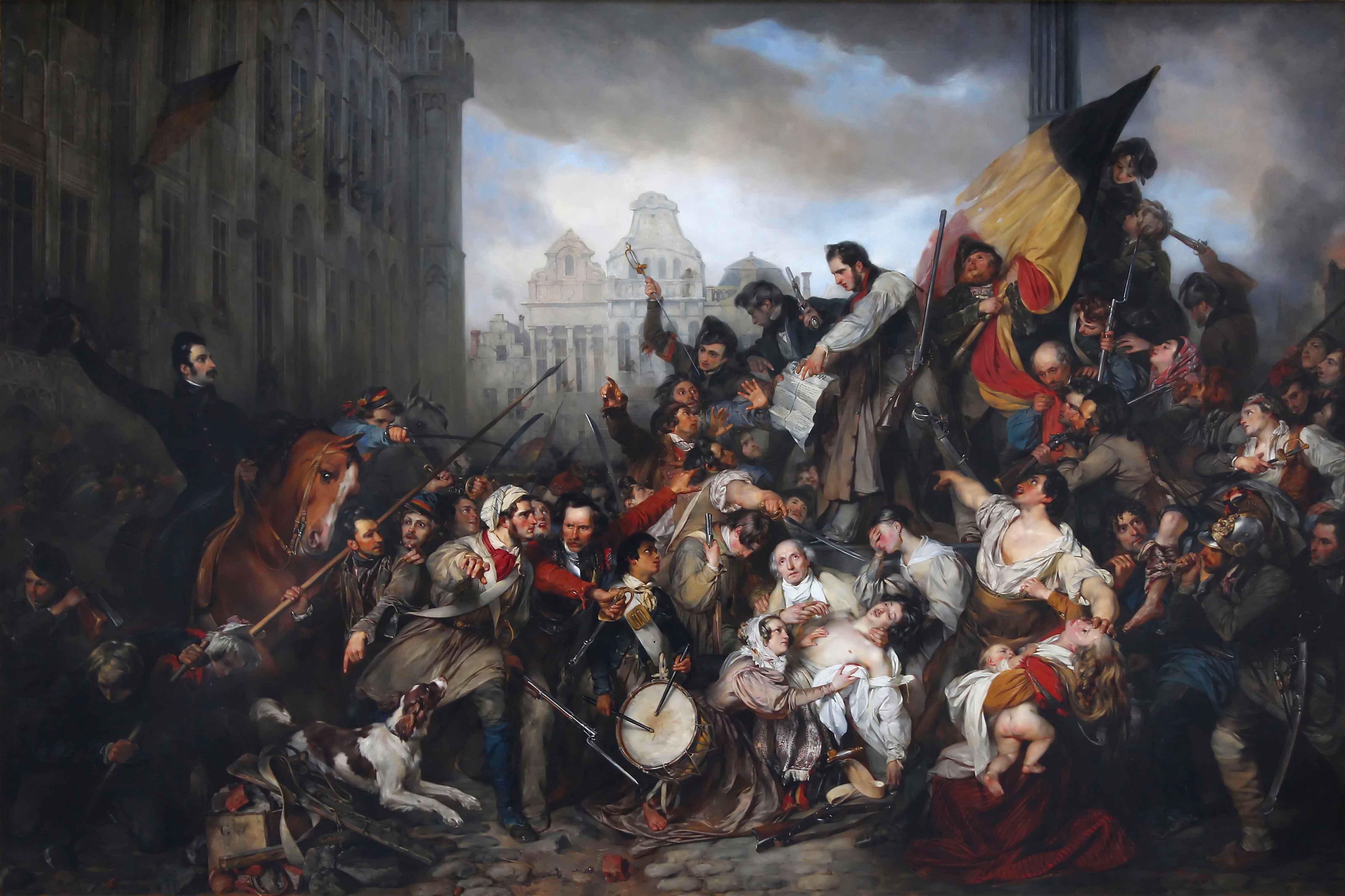 Épisode des Journées de septembre 1830 sur la place de l'Hôtel de Ville de Bruxelles, par Gustave Wappers (1835)