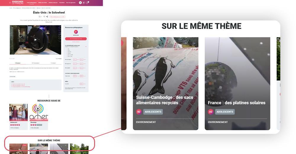 Capture d'une fiche pédagogique du site Enseigner le français.