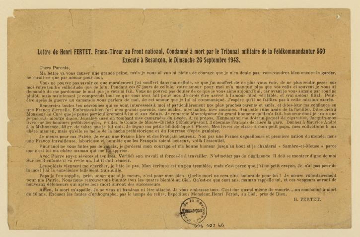 Copie dactylographiée de la lettre d'Henri Fertet