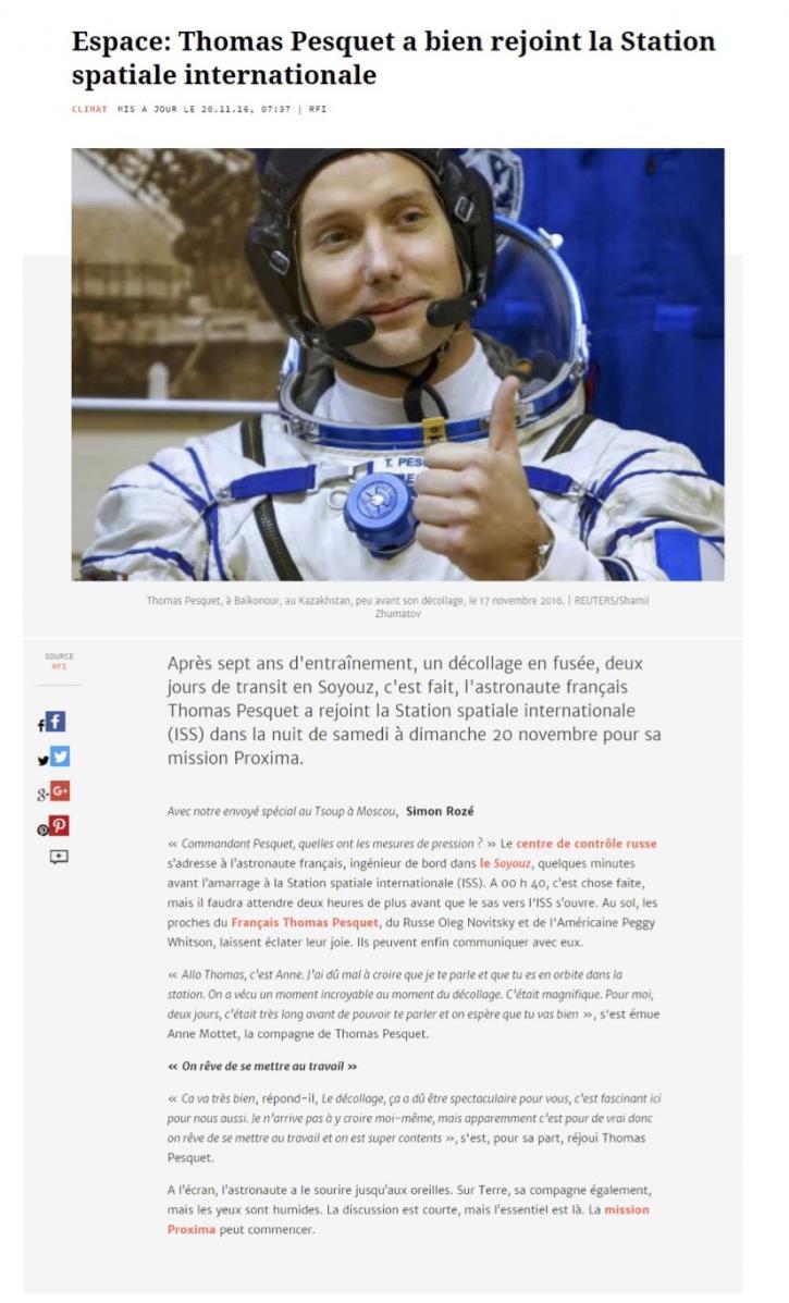 Thomas Pesquet a bien rejoint la Station spatiale internationale