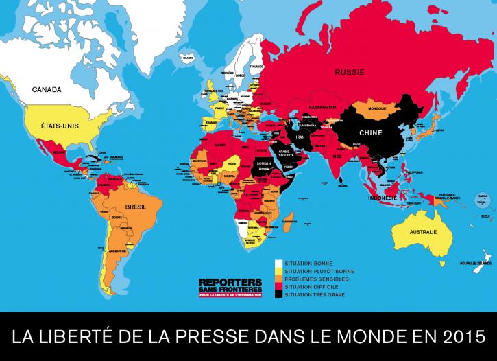 La liberté de la presse dans le monde en 2015 - Carte